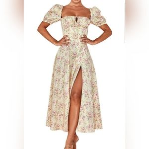 Square Collar Ruffle Floral Ruched Boho